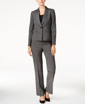 Le Suit Womens Petite Pinstripe 1 Button Shawl Collar Pant