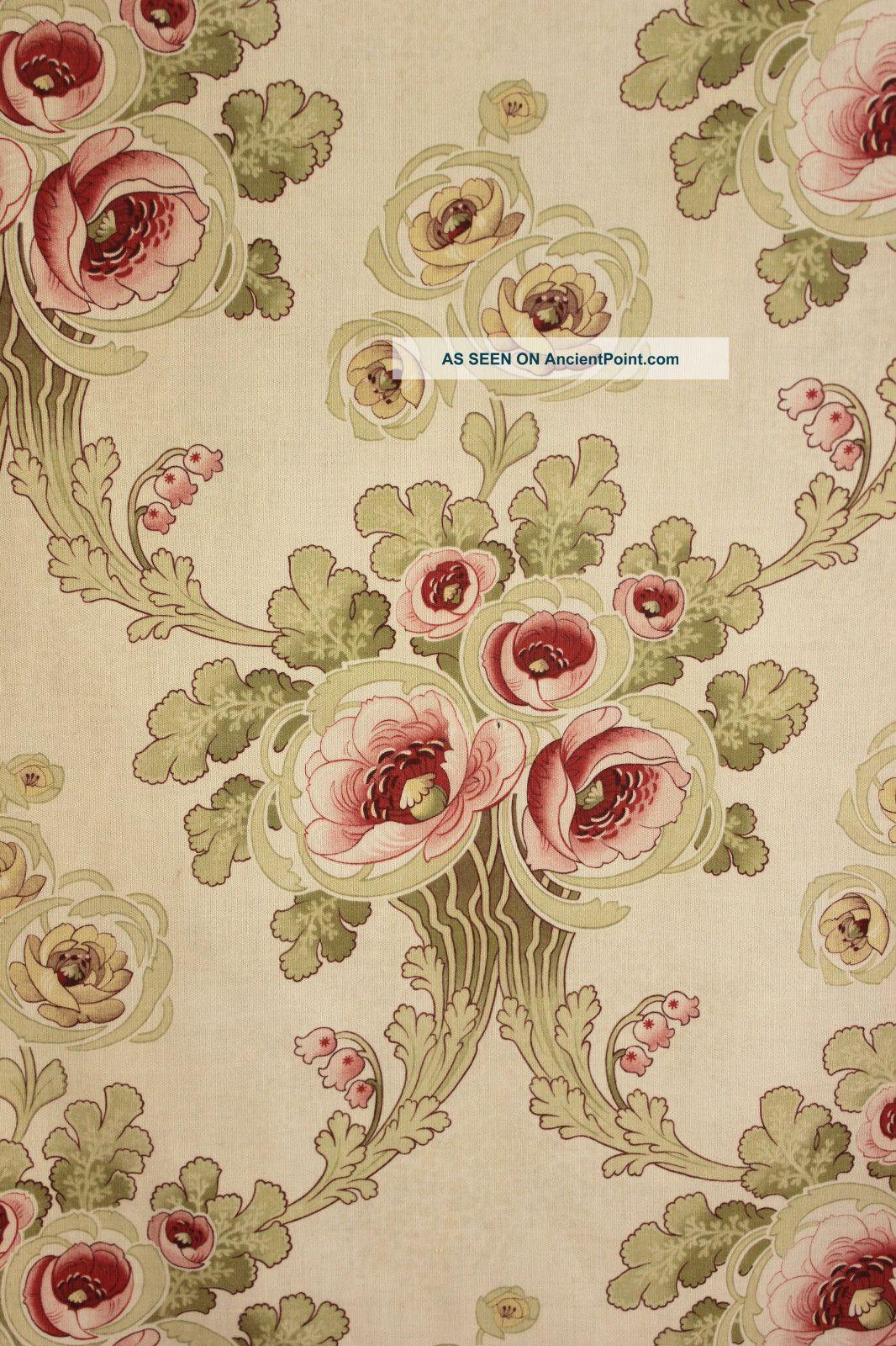 Kinds Of Vintage Floral Curtains - Antique french art nouveau printed cotton fabric material pinks greens c1905 art nouveau photo