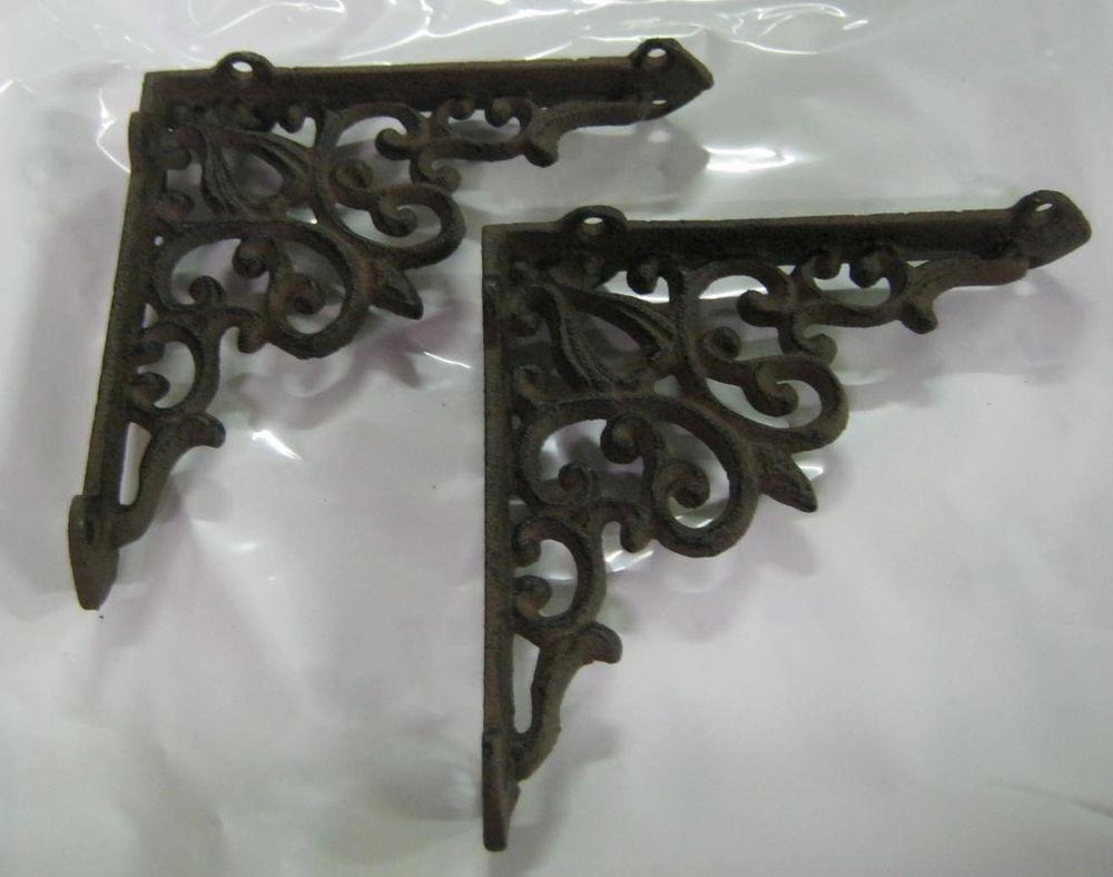 "Set of 2 Cast Iron Shelf Brackets NewAntique-Look Fancy 9 1//2/"" x 9 1//2/"" Hangers"