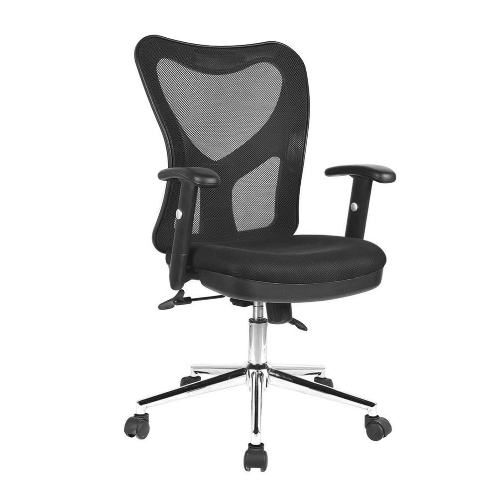 Techni Mobili Black High Back Mesh Office Chair with Chrome Base
