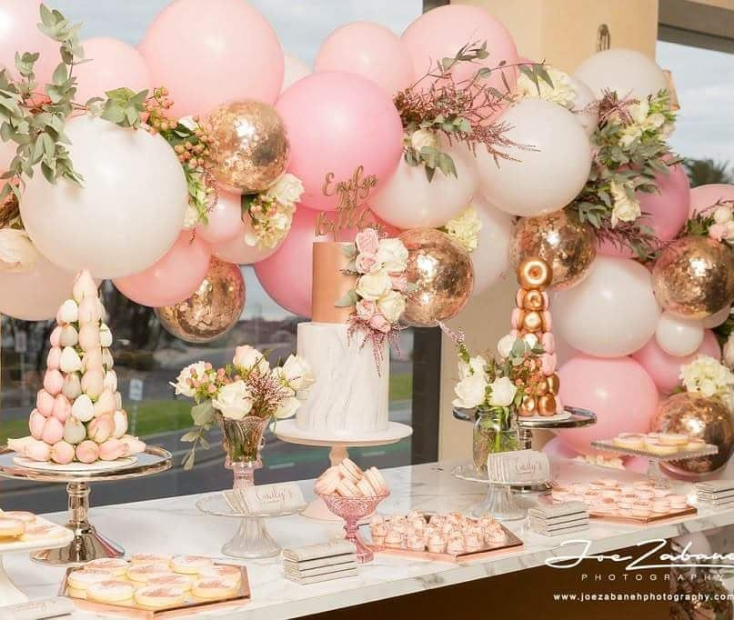 Party Balloon Decor From Boutique Balloons Melbourne Boutiqueballoonsmelbourne Pink Gold Party 21st Party Decorations Rose Gold Party
