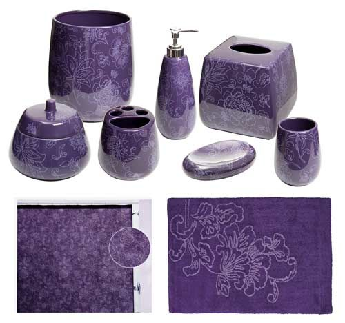 Bon Botanica Purple Bathroom Accessories, Deluxe Set