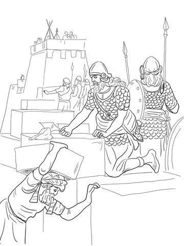 Nehemiah Builds the Walls and Tower of Jerusalem coloring page from ...