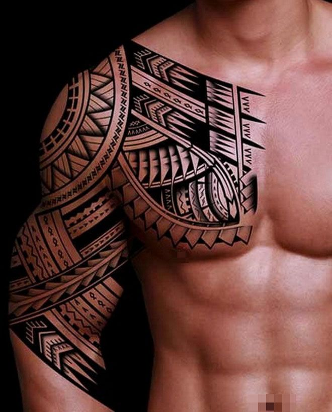 tatouage tribal pectoral epaule et bras pour homme tatoo pinterest tatouages tribaux. Black Bedroom Furniture Sets. Home Design Ideas