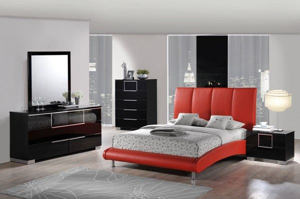 . Contemporary Black Grey Red Wood PU MDF Master Bedroom Set   Master