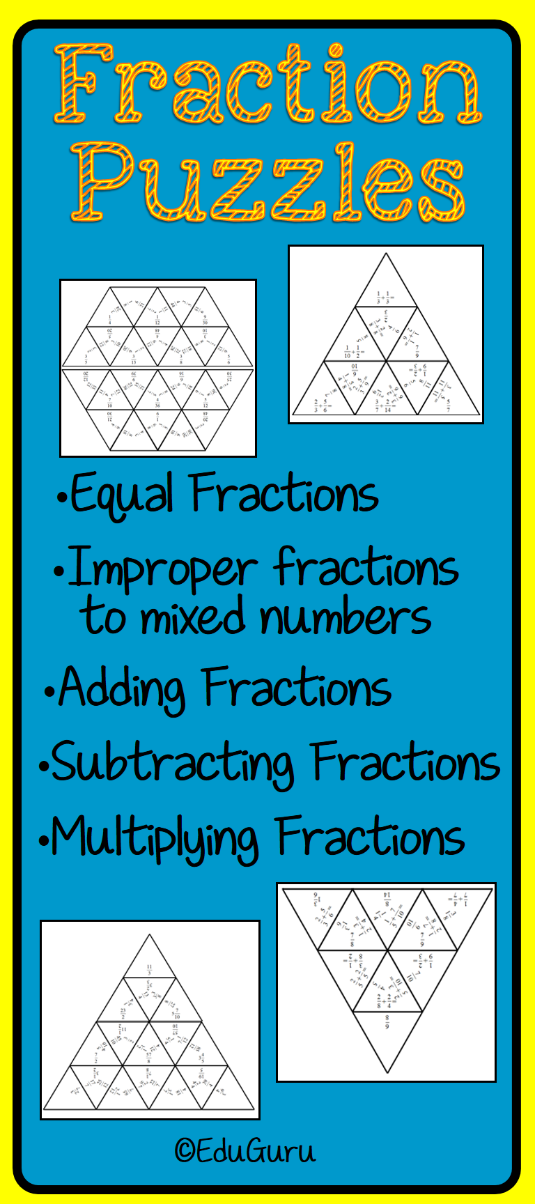 Fraction Puzzles | Adding fractions, Improper fractions and Thinking ...