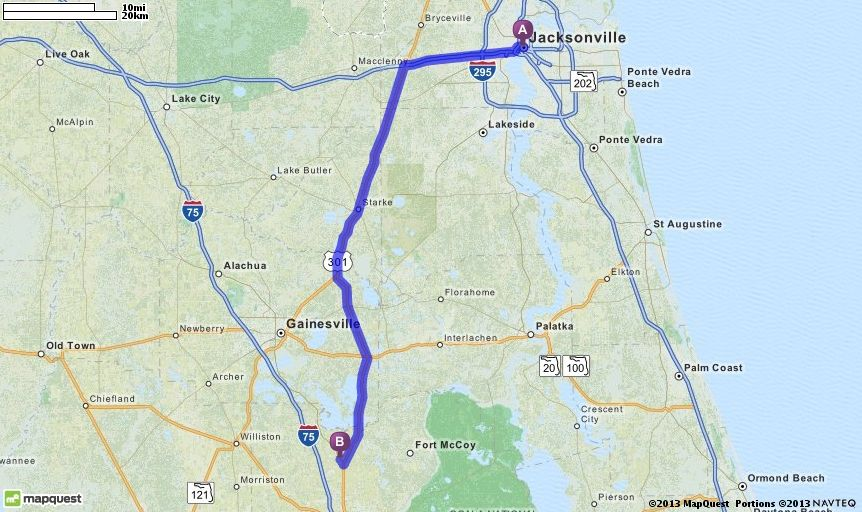 Driving Directions From Jacksonville Florida To 13939 N Us Highway