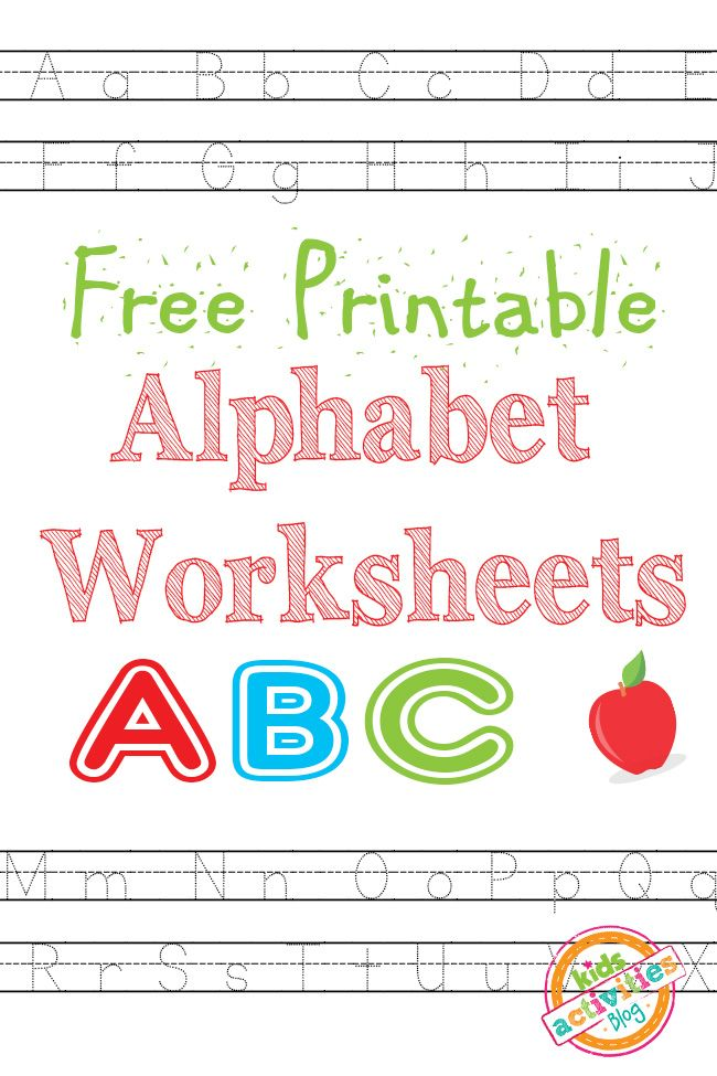 Alphabet Worksheets Free Kids Printable | Schule, Kinder printables ...