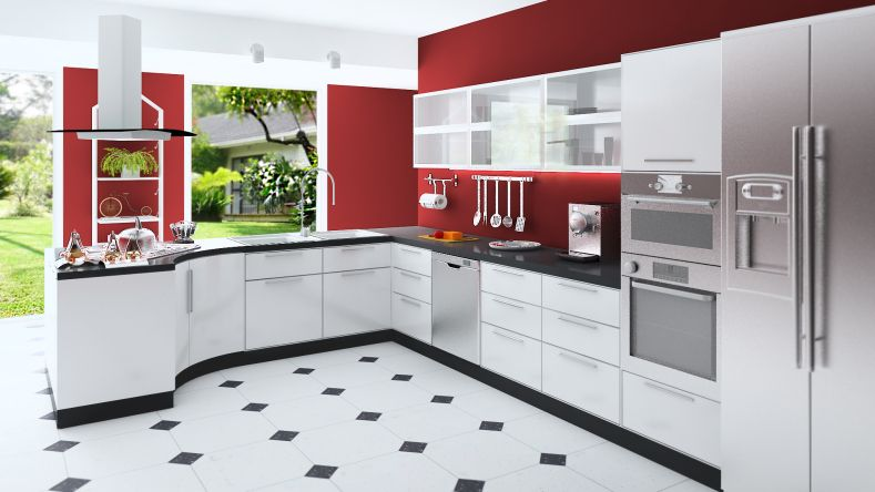Marvelous Custom Modern Kitchen With Red Walls, White Cabinets, Black And White Floor  And Stainless