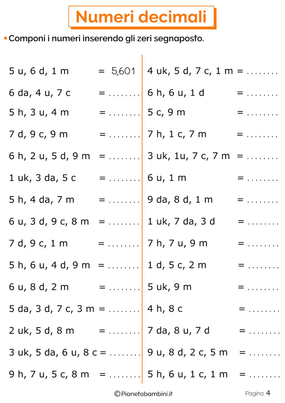 la moltiplicazione con i numeri decimali classe 4 ...