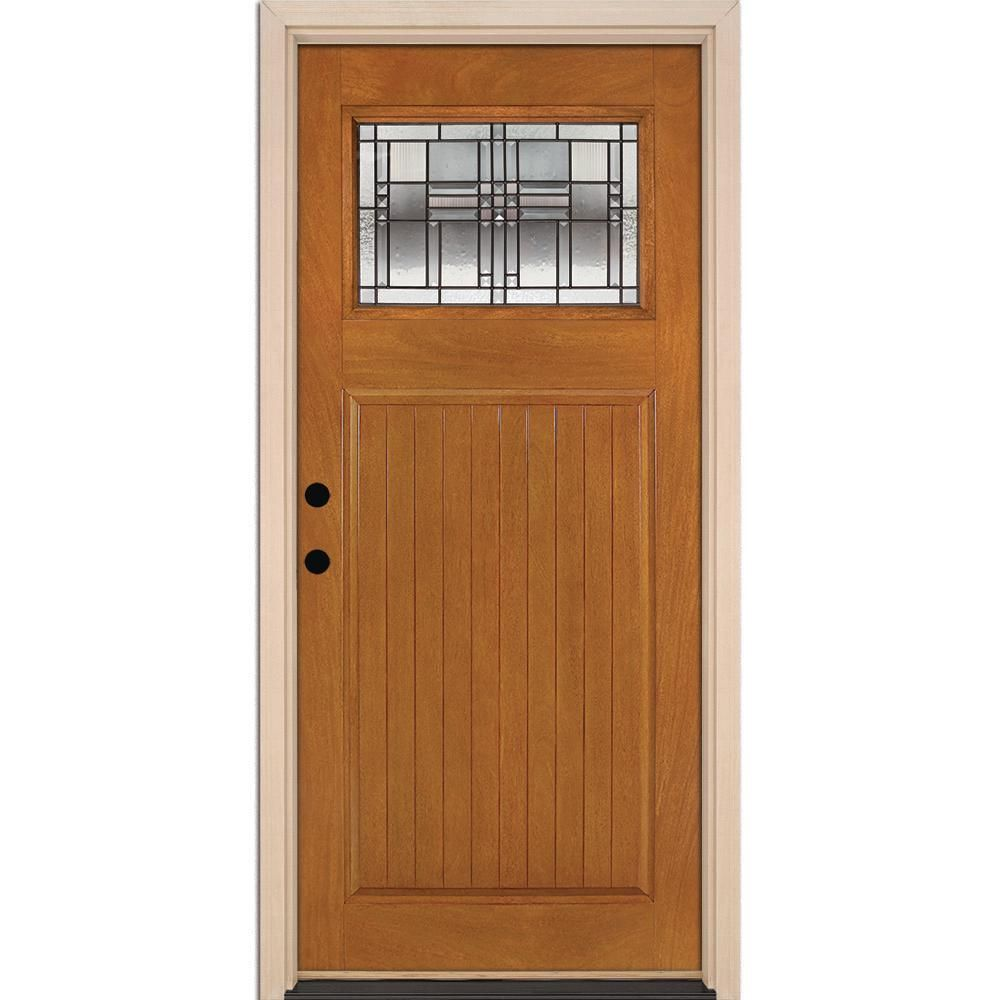 Feather River Doors 37 5 In X 81 625 In Monroe Patina Craftsman 1 4 Lite Stained Honey Mahogany Rh Inswing Fiberglass Prehung Front Door N53d91 The Home Dep Honey Mahogany Fiberglass Door Prehung Doors