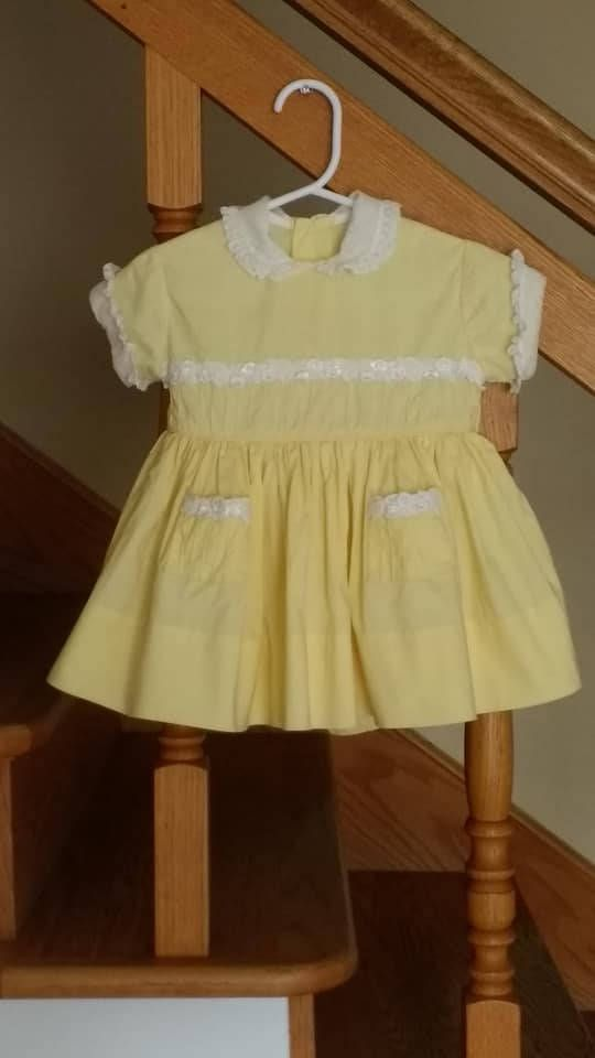 214800cad3e2 Vintage Baby Dress - 1950s Handmade Dress - Yellow with White Lace ...