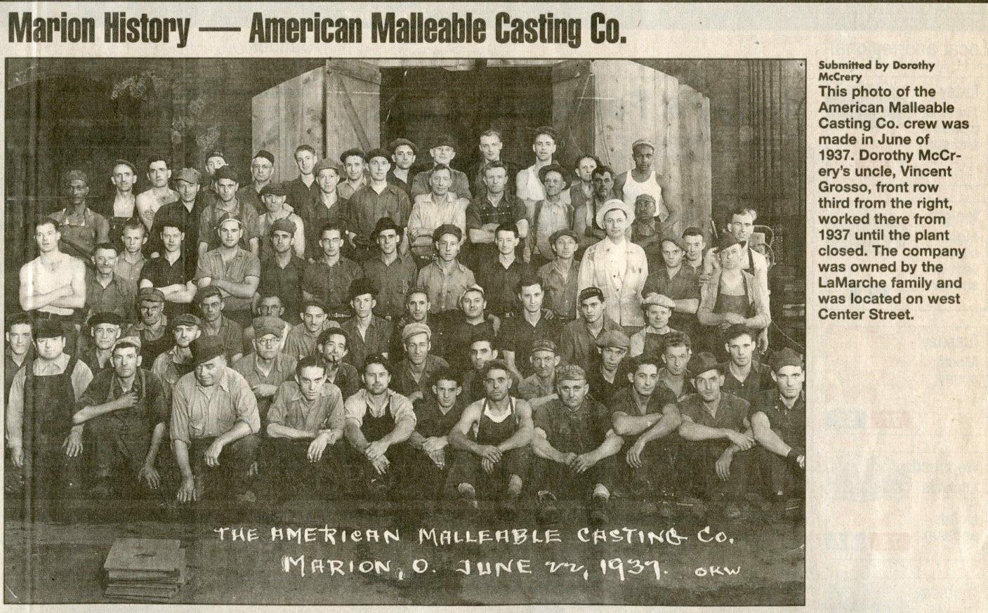 American Malleable Casting Co Employees 1937 Photo 269