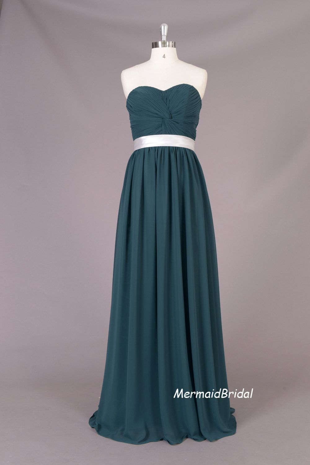 Dark green aline sweetheart prom dress long chiffon prom dresses