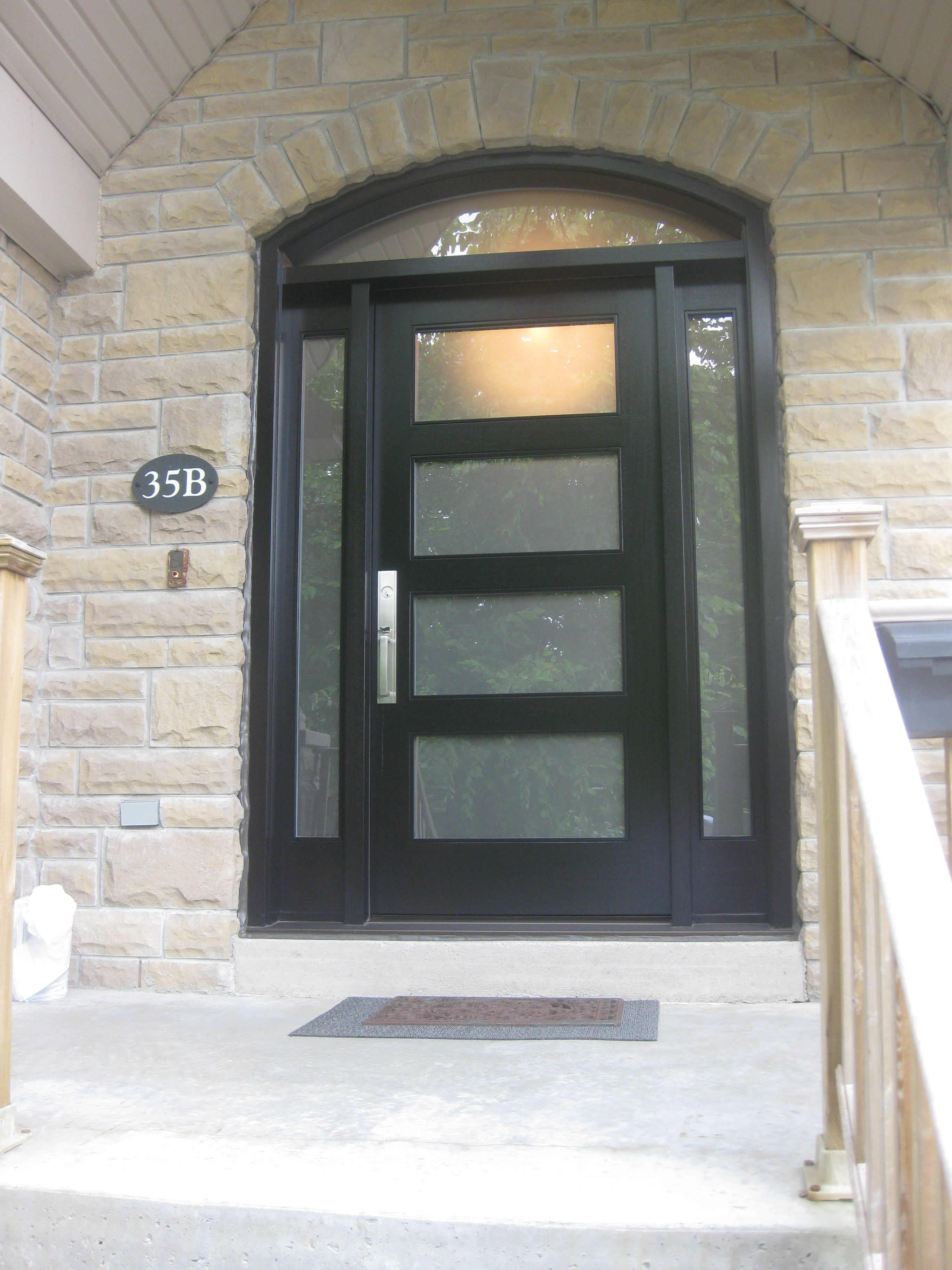 This is a handsome contemporary Amberwood custom mahogany door, with Front Door With Sidelights Canada on