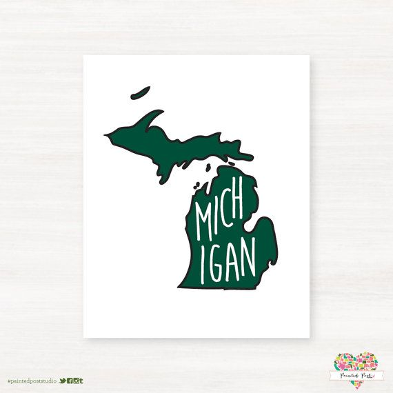 East Lansing Michigan Typography State Giclée Map by PaintedPost