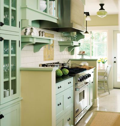 Green Kitchen Remodel On Galley