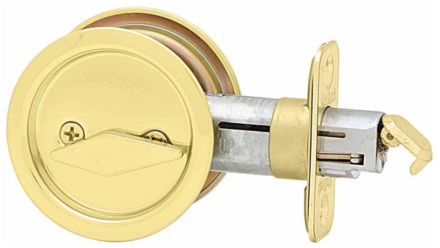 Kwikset 335 Round Privacy Bed/Bath Pocket Door Lock Polished Brass Pocket  Door Lock Privacy
