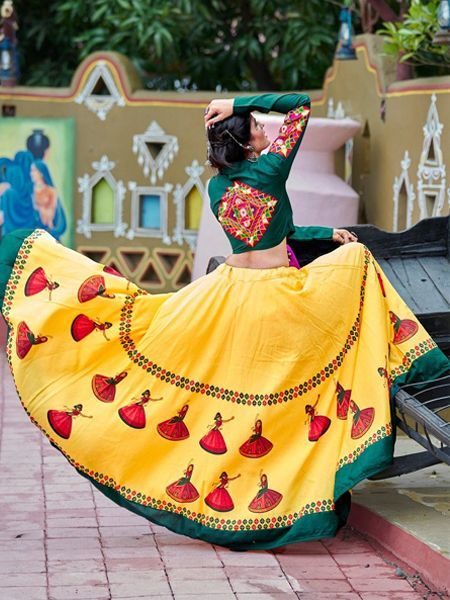 Buy Yellow Cotton Embroidered Chaniya Choli Online in India | YOYO Fashion #chaniyacholi