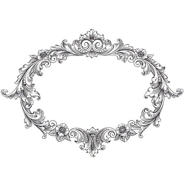Vintage Clip Art Fancy Oval Frame Liked On Polyvore Featuring