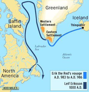 Leif Ericson Map Route LeigErikson route to America | School   HISTORY   Middle Ages