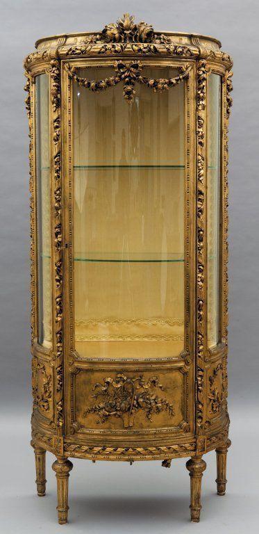 Vetrina in stile Luigi XVI in legno intagliato e on | Furniture ...