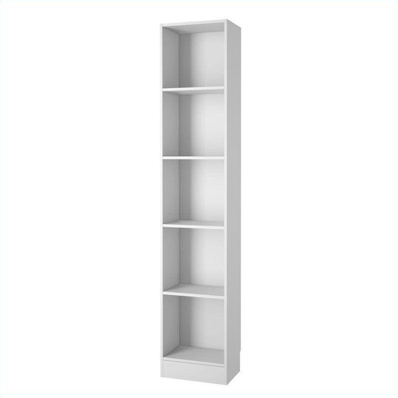 Tvilum Element Tall Narrow 5 Shelf Bookcase In White White Bookcase Contemporary Bookcase Bookcase