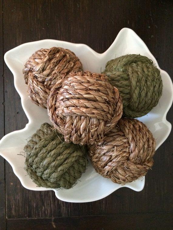 Decorative Rope Balls Pleasing Moss  Green Nautical Rope Knots  5 Decorative Rope Balls Decorating Inspiration