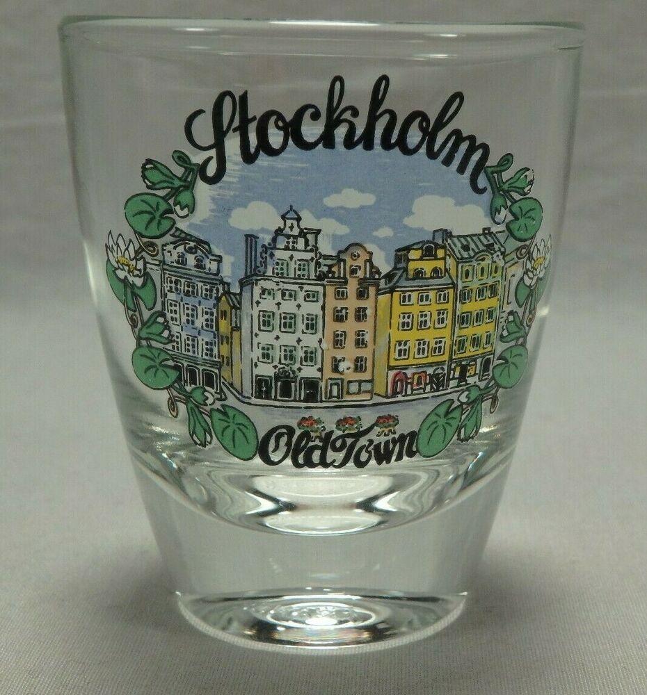Stockholm Sweden Old Town Beverage Shot Glass Shooter Souvenir