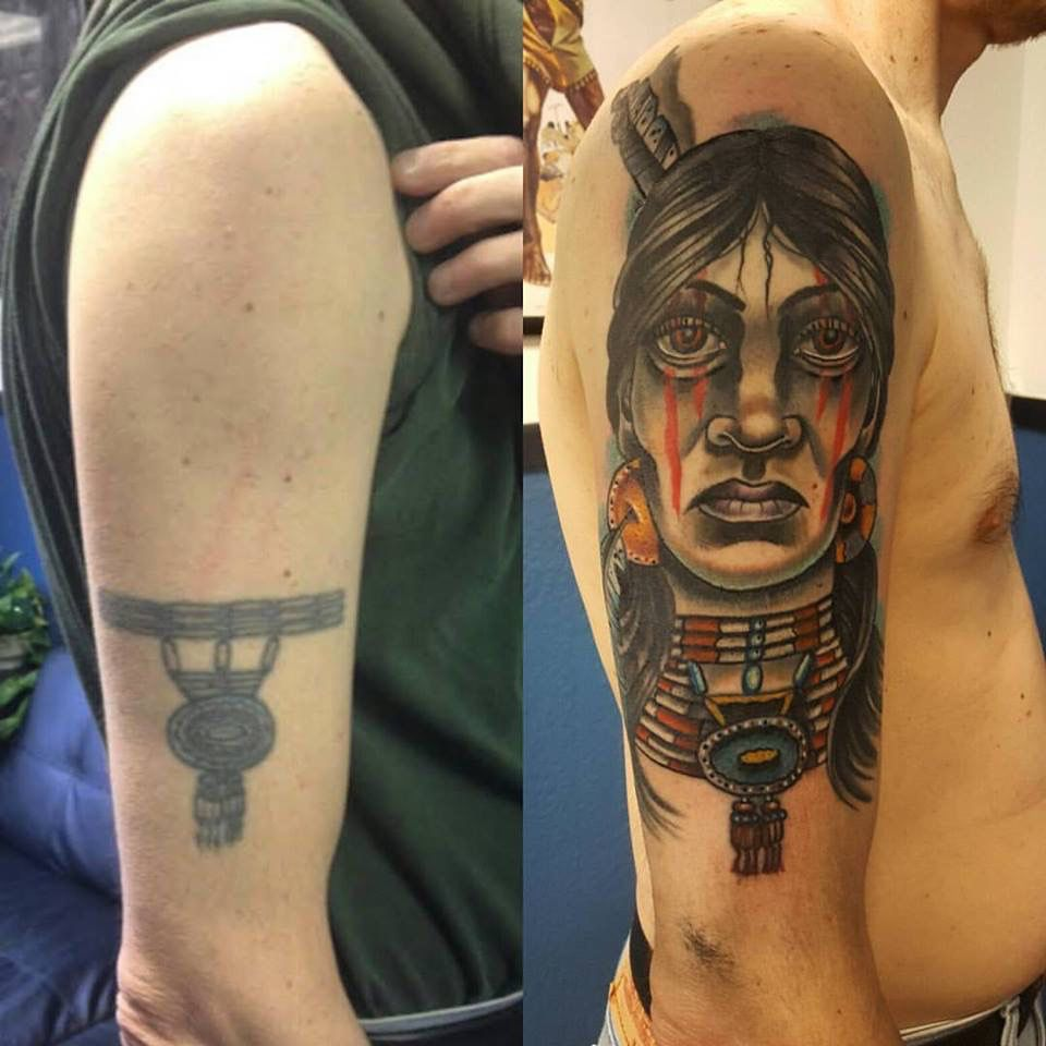 Native American Cover Up Color Tattoo Out With The Old In With The New Tattoos Color Tattoo Portrait Tattoo
