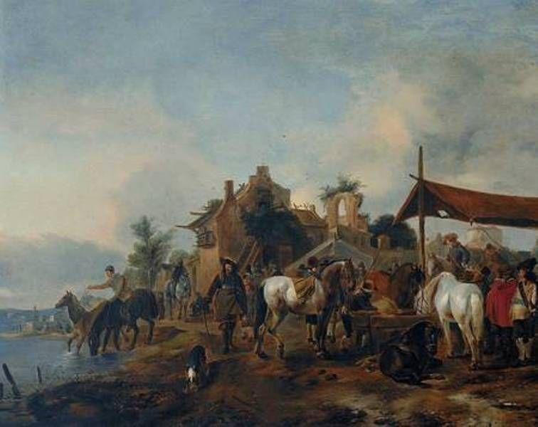 Philips Wouwerman - Paardenmarkt voor een middeleeuws stadje