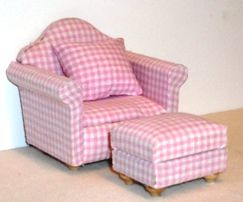 Pink gingham armchair and footstool | ELF Miniatures ...