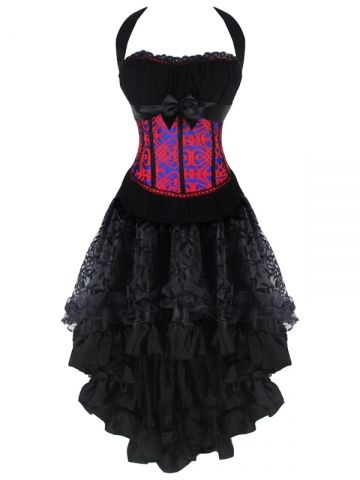 walkingon halter gothic women lace steampunk corset