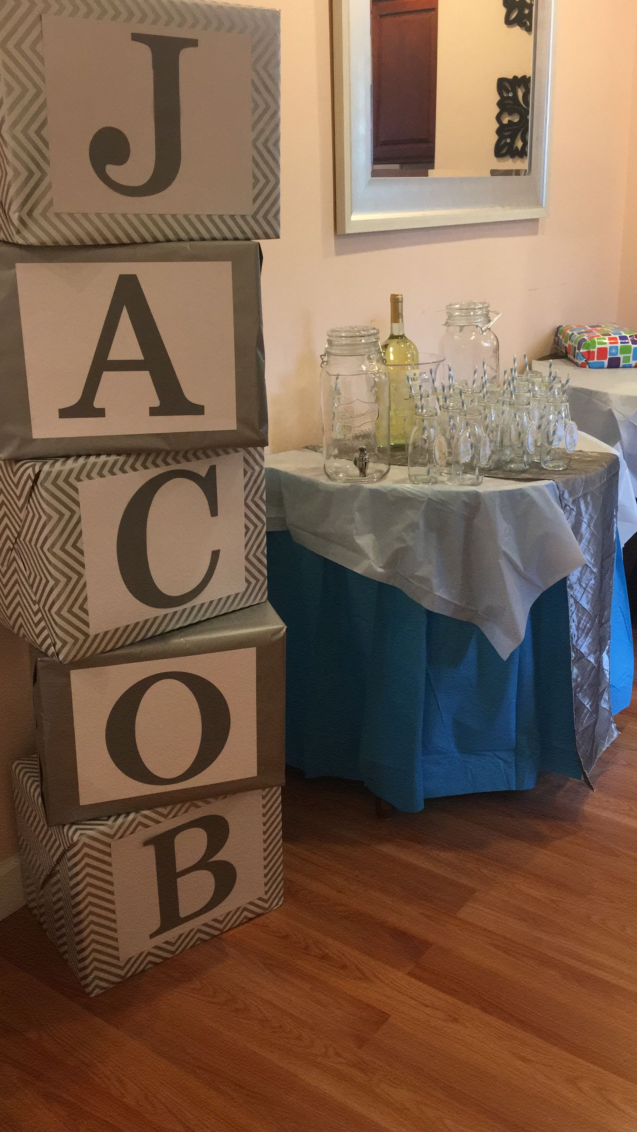 How To Make Baby Shower Boxes With Name : shower, boxes, Shower, Blocks, Shower,, Trendy, Ideas,