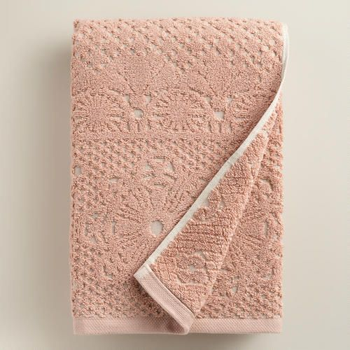 One of my favorite discoveries at WorldMarket.com: Blush and Taupe Lattice Sculpted Bath Towel
