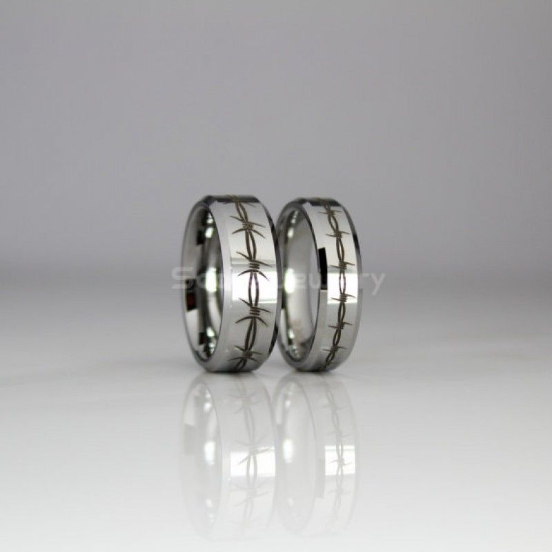 2 Piece Couple Set 8mm & 6mm Tungsten Bands with Beveled Edge and ...
