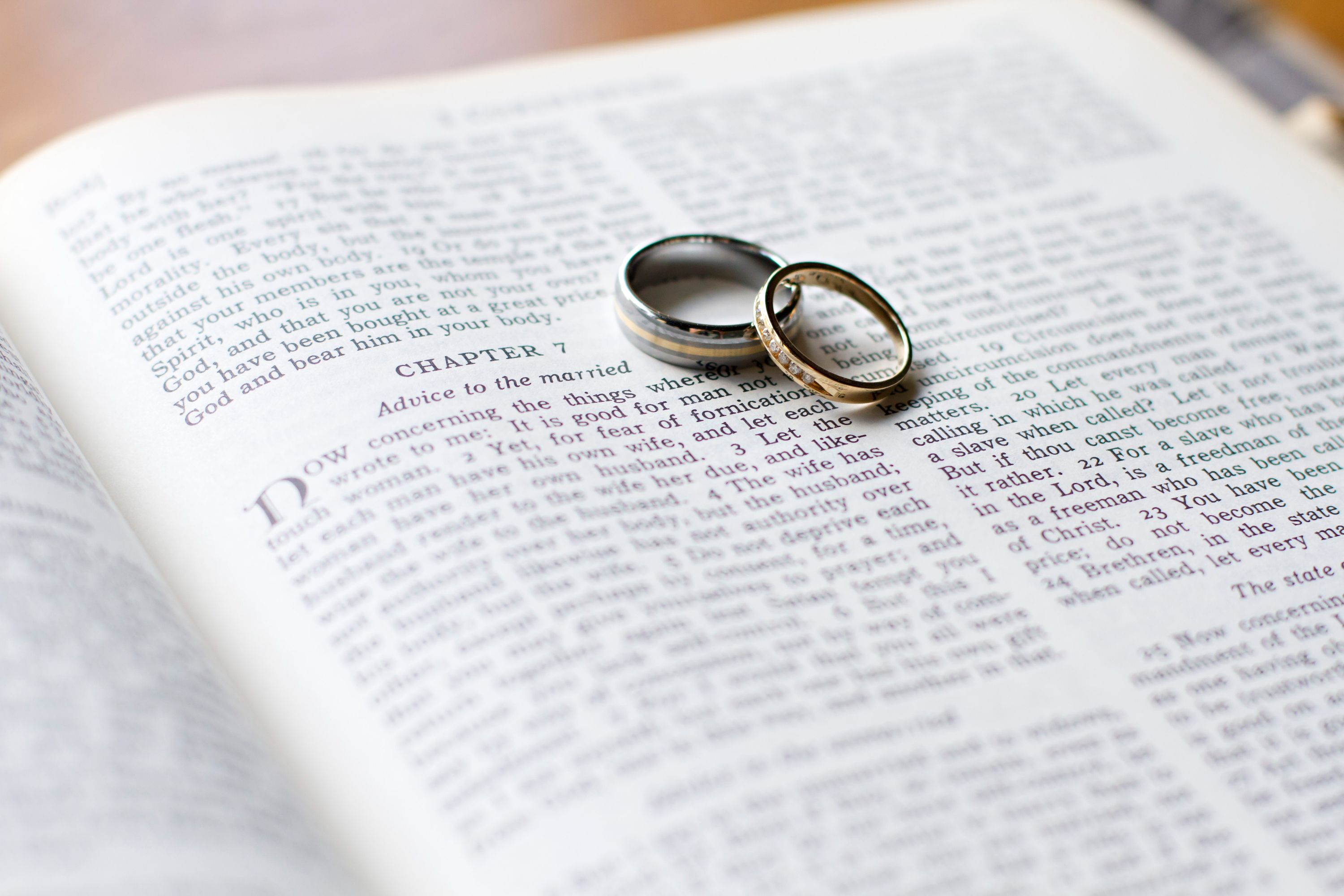 Wedding bands with a marriage verse from the bible