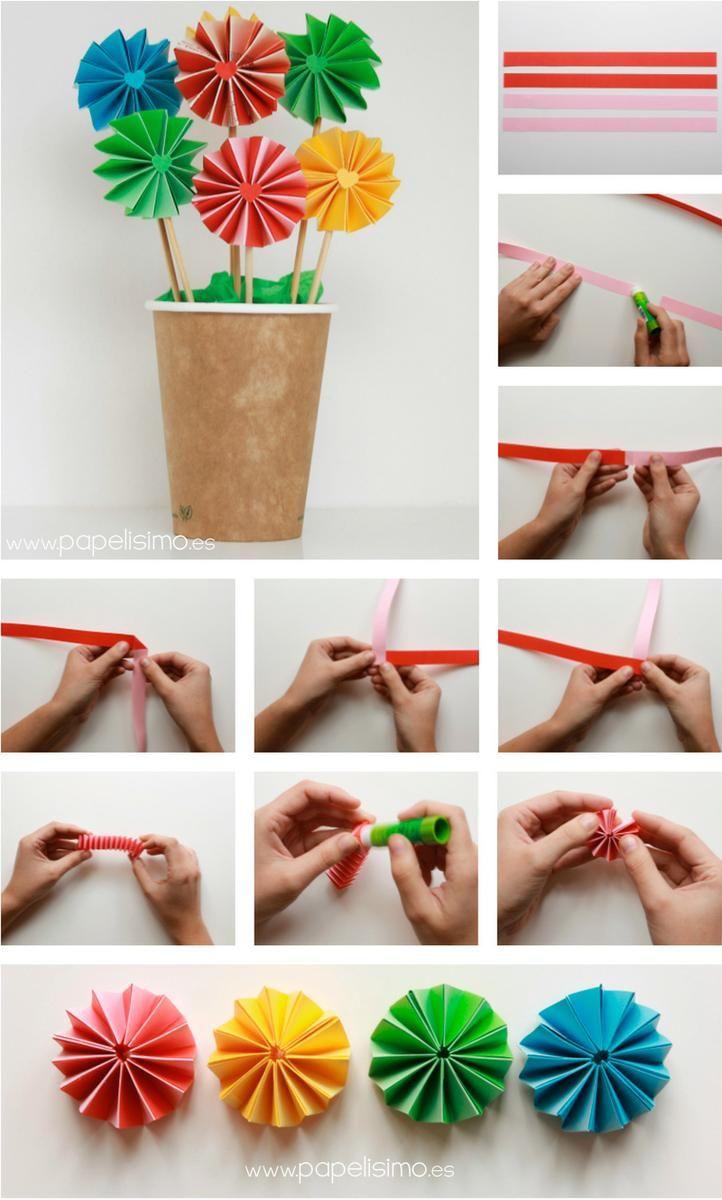 Flores acordeon de papel con maceta en vaso de carton - Papel partitura para manualidades ...