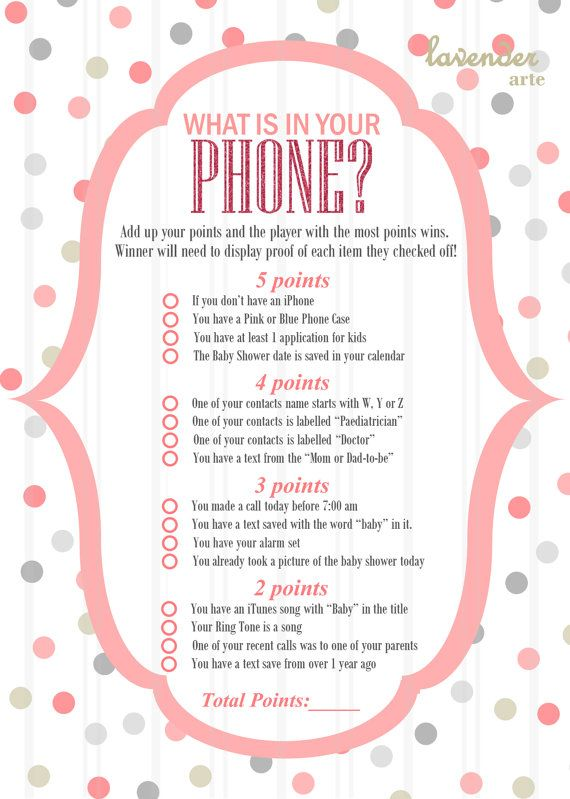 what is in your phone? game, pink gray polka dots baby shower, Baby shower invitations