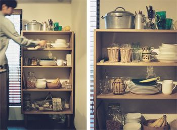 IDEEのシェルフに、無印の食器たち。 シンプルながらもちょっぴり個性の