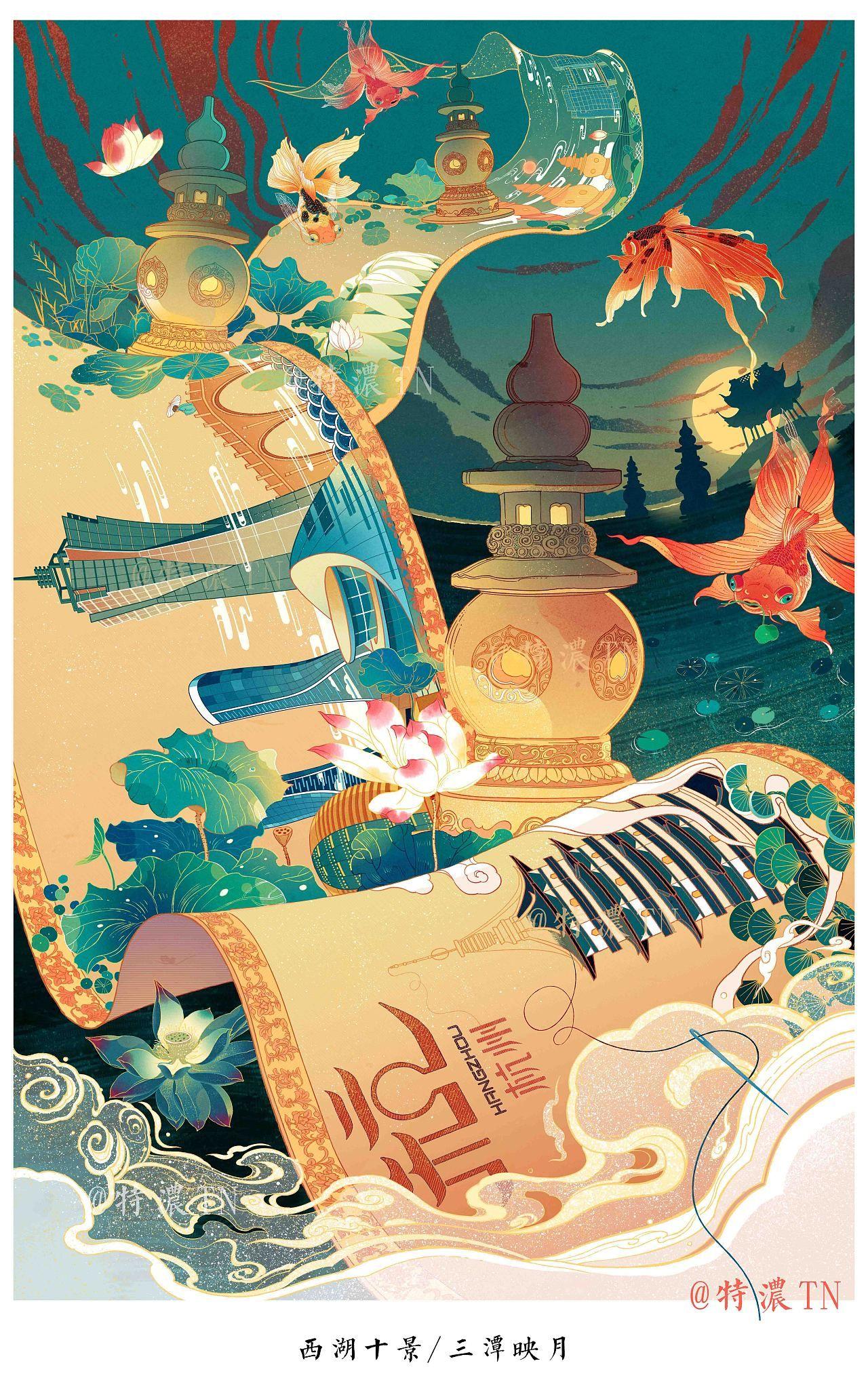 【西湖十景】插画|插画|商业插画|特浓TN         - 原创作品