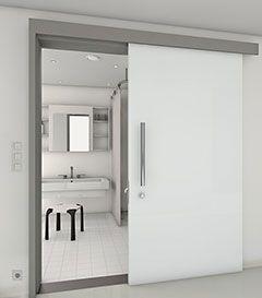 Glastüre fürs bad, die vor der wand läuft. Zargen für Schiebetüren ...