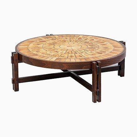 Low Vintage Vallauris Ceramic Tile Coffee Table By Roger Capron 1970s Tiled Coffee Table Table Tiles
