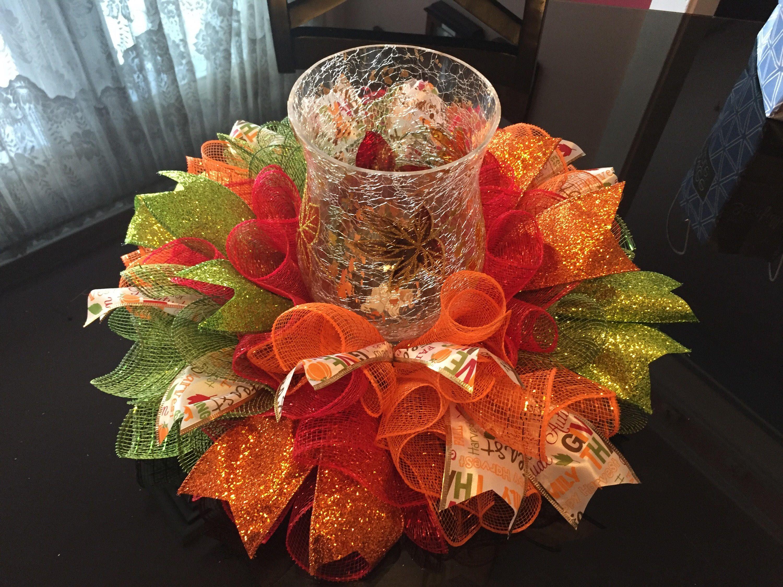 17 Fall Autumn Deco Mesh Harvest Centerpiece Candle Holder Multicolor Candleholder Centerpieces Fall Deco Mesh Candle Centerpieces