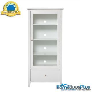 White Media Tower And CD DVD Storage Cabinet With Glass Door