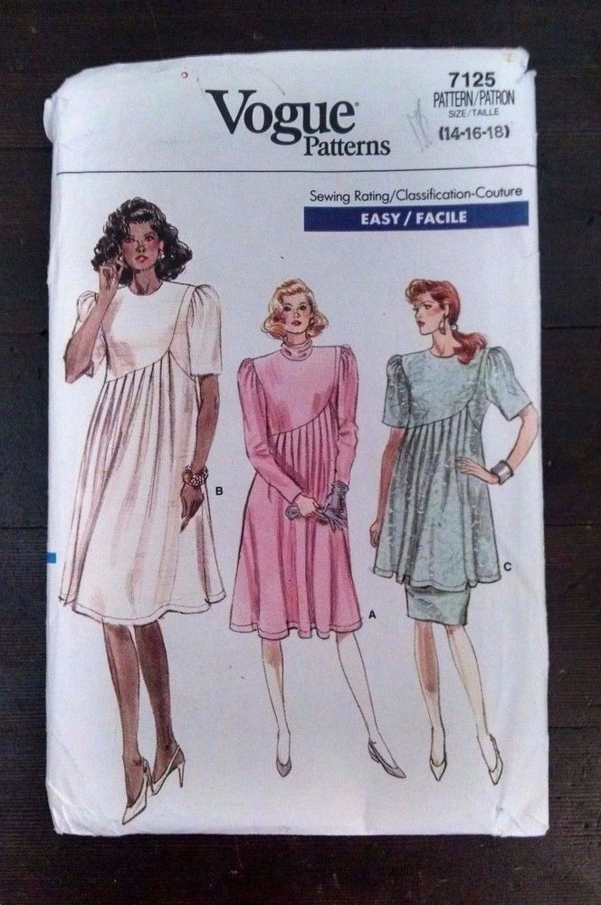 b346307210aa3 Vtg 80s Vogue Maternity Dress Skirt Tunic 7125 Modest 14-16-18 Rated Easy  Uncut #VoguePatterns