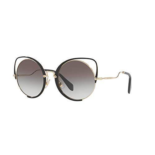 63bdd31104e7 MIU MIU Scenique Curvy Cateye Sunglasses in Pale Gold Black MU 51TS 1AB0A7  54
