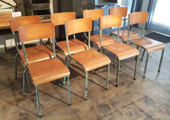 Circa 1960, French Vintage Industrial Chairs At Standard Table Height.  Steel Base With