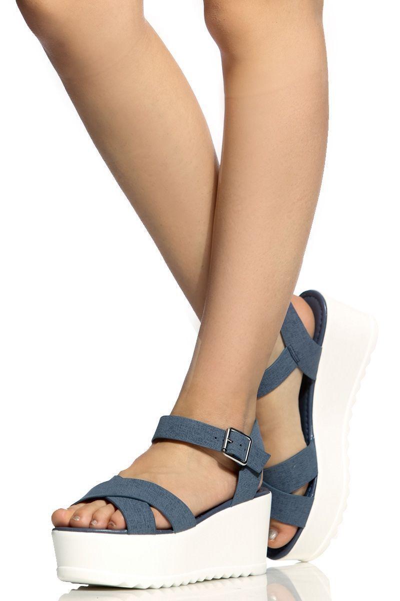 b053a5974 Denim Print Faux Leather Flatform Sandals   Cicihot Wedges Shoes  Store Wedge Shoes