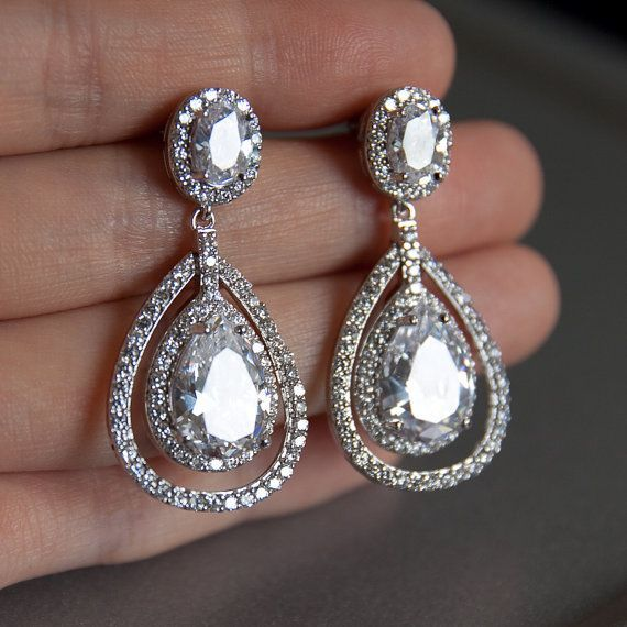 Bridal Earrings Double Teardrop Chandelier Wedding Classic Elegant Bridesmaid